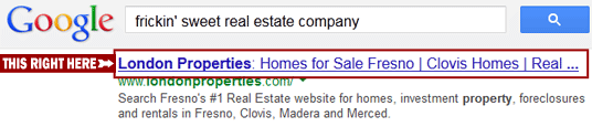 'Meta Title' is the name of your page in search results.